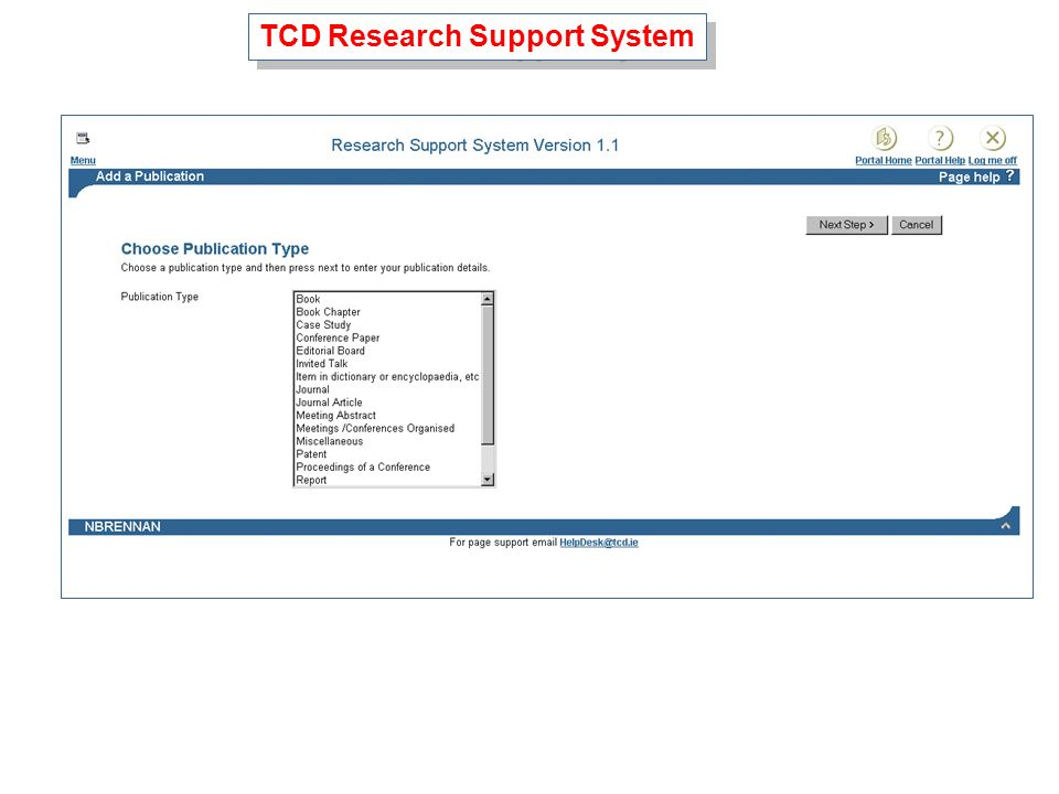 TCD Research Support System
