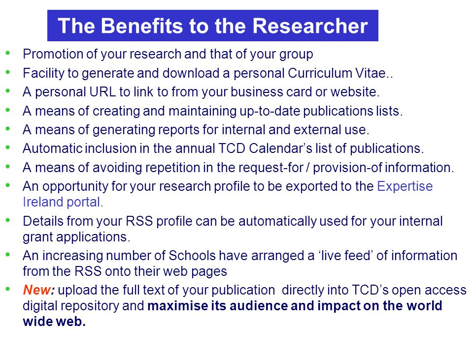 Promotion of your research and that of your group Facility to generate and download a personal Curriculum Vitae..