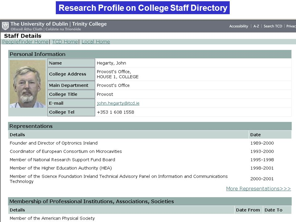 Research Profile on College Staff Directory