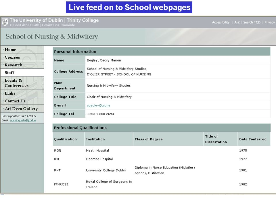 Live feed on to School webpages