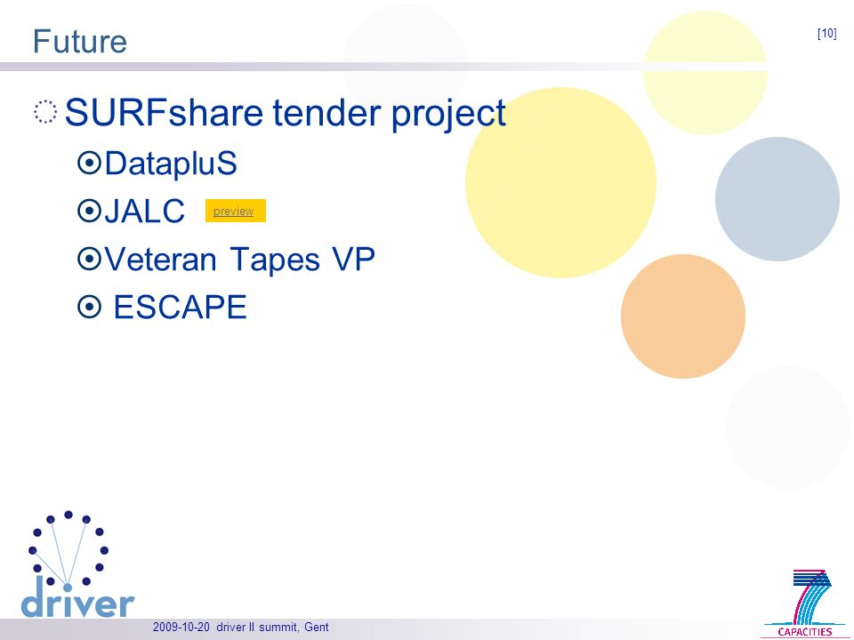 driver II summit, Gent Future SURFshare tender project DatapluS JALC Veteran Tapes VP ESCAPE [10] preview
