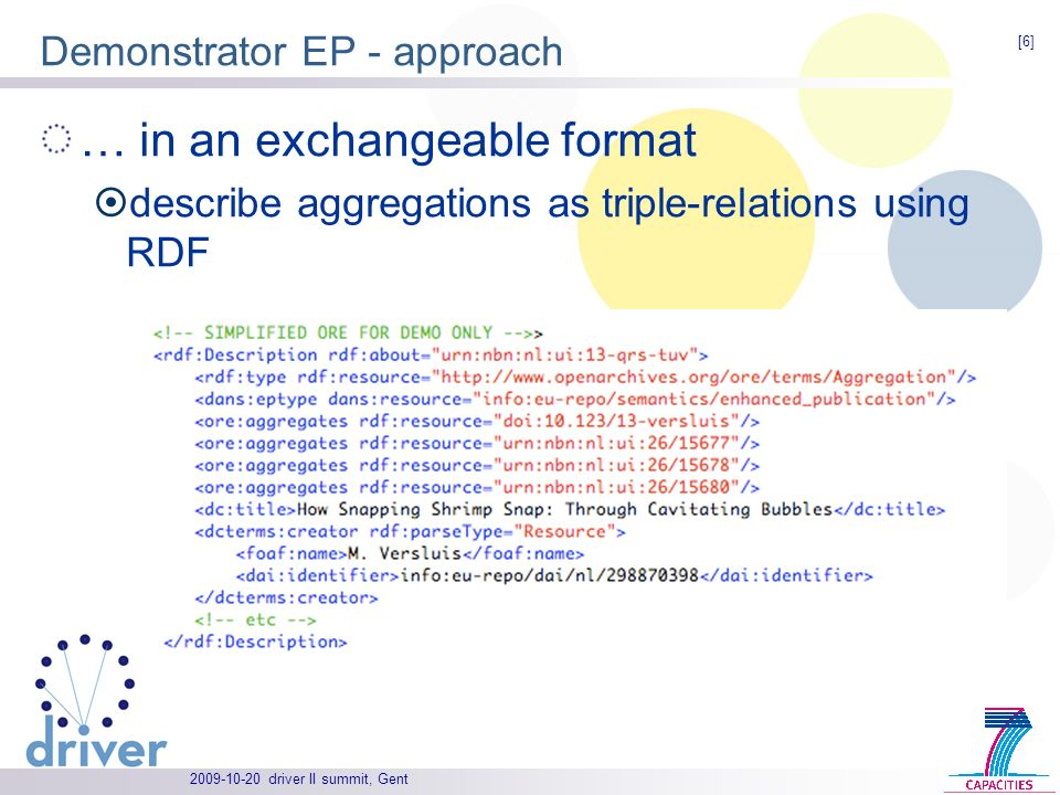 driver II summit, Gent Demonstrator EP - approach … in an exchangeable format describe aggregations as triple-relations using RDF [6]