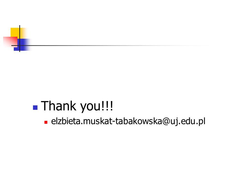 Thank you!!! elzbieta.muskat-tabakowska@uj.edu.pl