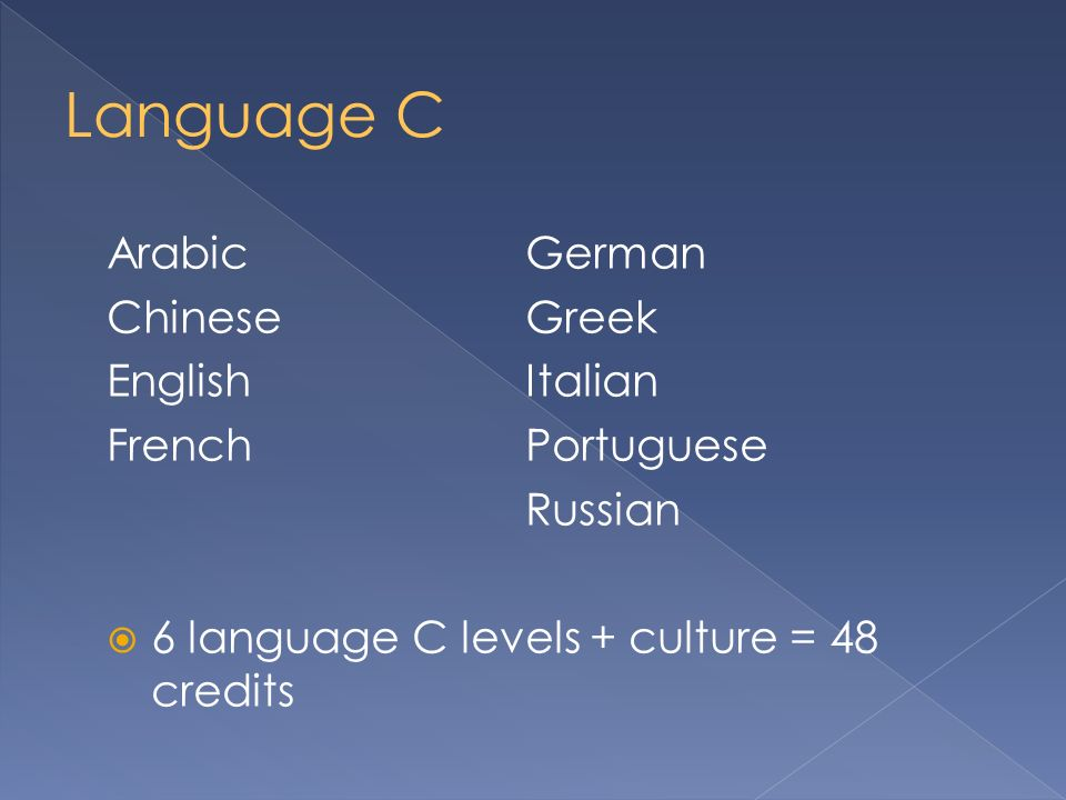 ArabicGerman ChineseGreek EnglishItalian FrenchPortuguese Russian 6 language C levels + culture = 48 credits