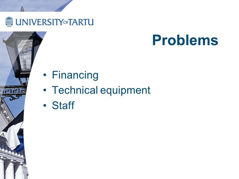 Problems Financing Technical equipment Staff