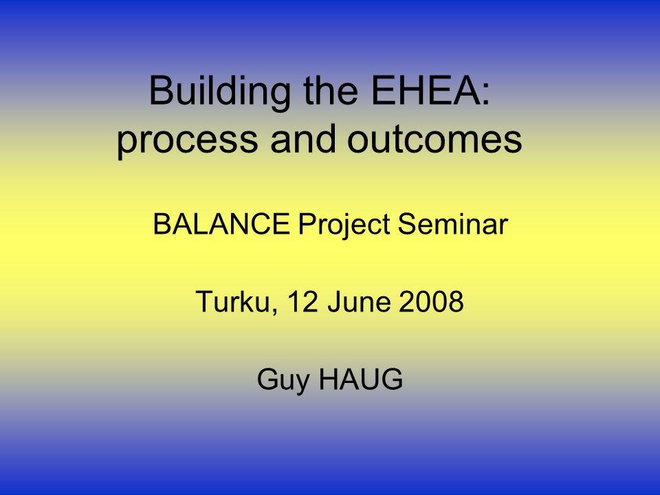Building the EHEA: process and outcomes BALANCE Project Seminar Turku, 12 June 2008 Guy HAUG