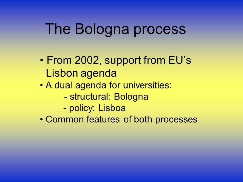 The Bologna process From 2002, support from EUs Lisbon agenda A dual agenda for universities: - structural: Bologna - policy: Lisboa Common features of both processes