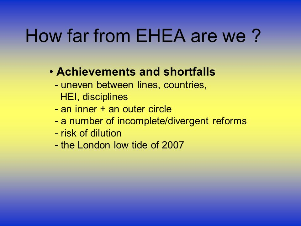 How far from EHEA are we .
