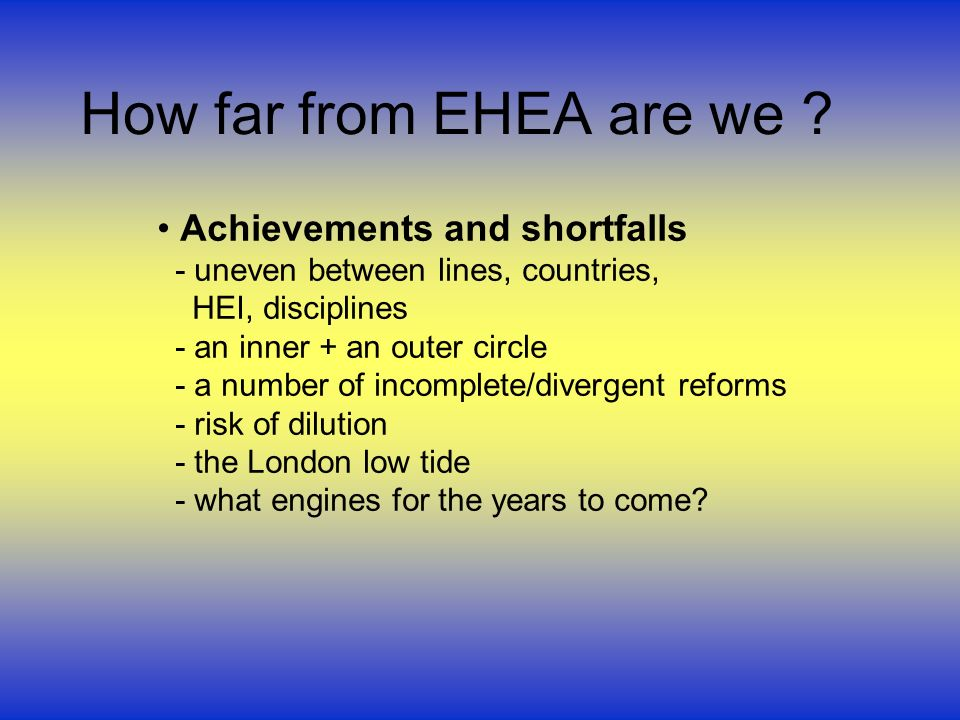 How far from EHEA are we ? Achievements and shortfalls - uneven between lines, countries, HEI, disciplines - an inner + an outer circle - a number of