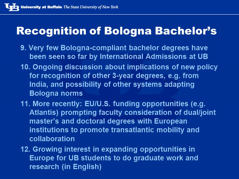 Recognition of Bologna Bachelors 9.