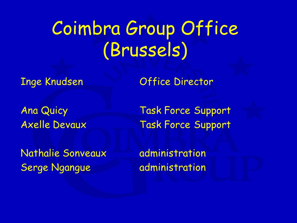 Coimbra Group Office (Brussels) Inge KnudsenOffice Director Ana QuicyTask Force Support Axelle DevauxTask Force Support Nathalie Sonveauxadministration Serge Ngangueadministration