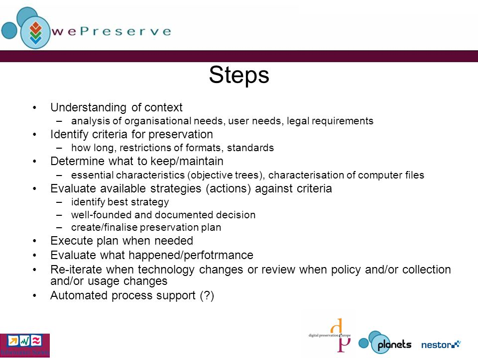 Steps Understanding of context –analysis of organisational needs, user needs, legal requirements Identify criteria for preservation –how long, restrictions of formats, standards Determine what to keep/maintain –essential characteristics (objective trees), characterisation of computer files Evaluate available strategies (actions) against criteria –identify best strategy –well-founded and documented decision –create/finalise preservation plan Execute plan when needed Evaluate what happened/perfotrmance Re-iterate when technology changes or review when policy and/or collection and/or usage changes Automated process support ( )