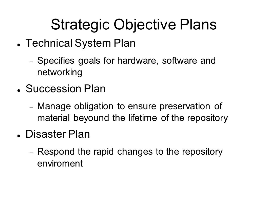 Strategic Objective Plans Technical System Plan Specifies goals for hardware, software and networking Succession Plan Manage obligation to ensure pres