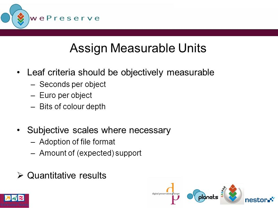 Assign Measurable Units Leaf criteria should be objectively measurable –Seconds per object –Euro per object –Bits of colour depth Subjective scales where necessary –Adoption of file format –Amount of (expected) support Quantitative results