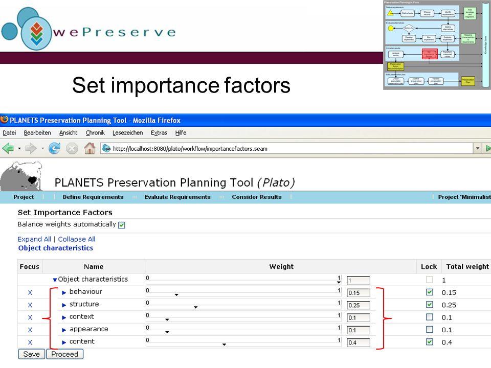 Set importance factors