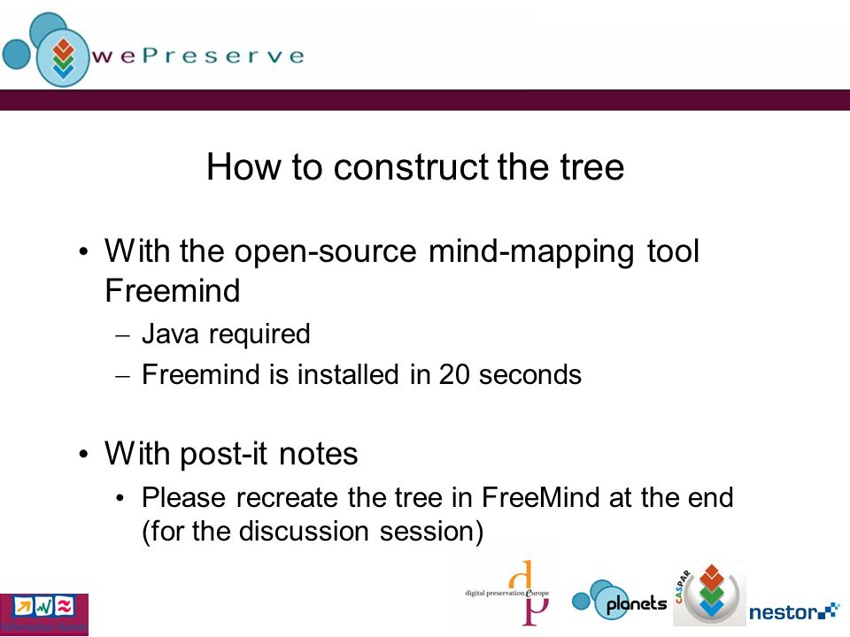 How to construct the tree With the open-source mind-mapping tool Freemind Java required Freemind is installed in 20 seconds With post-it notes Please recreate the tree in FreeMind at the end (for the discussion session)