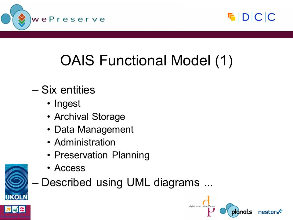 OAIS Functional Model (1) –Six entities Ingest Archival Storage Data Management Administration Preservation Planning Access –Described using UML diagrams...