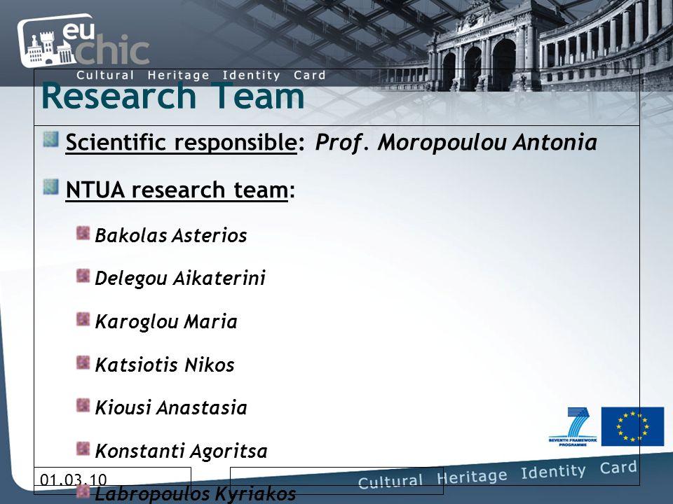 01.03.10 Research Team Scientific responsible: Prof. Moropoulou Antonia NTUA research team : Bakolas Asterios Delegou Aikaterini Karoglou Maria Katsio