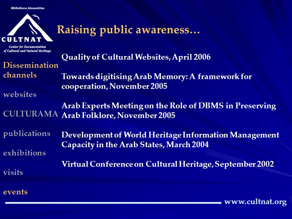 www.cultnat.org Raising public awareness… Dissemination channels websites CULTURAMA publications exhibitions visits events Quality of Cultural Websites, April 2006 Towards digitising Arab Memory: A framework for cooperation, November 2005 Arab Experts Meeting on the Role of DBMS in Preserving Arab Folklore, November 2005 Development of World Heritage Information Management Capacity in the Arab States, March 2004 Virtual Conference on Cultural Heritage, September 2002