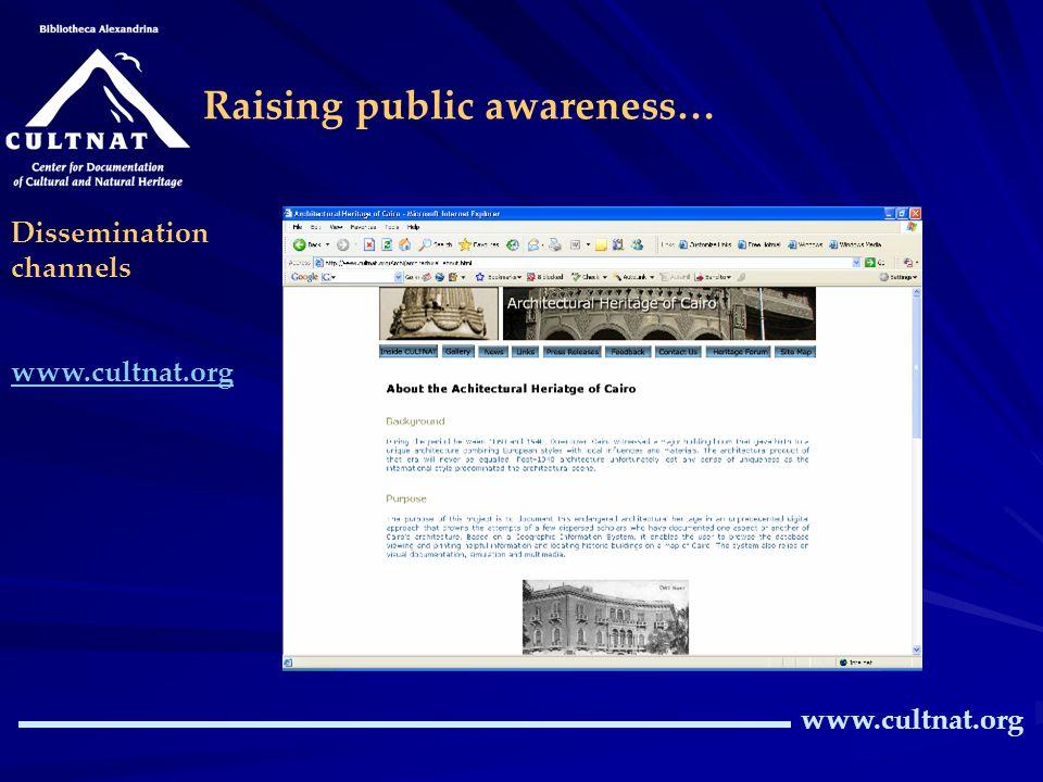 CULTNATs website diffuses information on: documentation programmes achievements, activities, events, awards… www.cultnat.org Dissemination channels ww