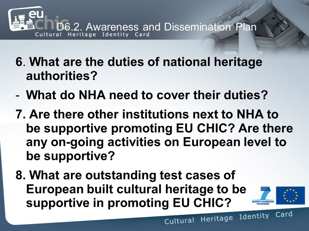 6. What are the duties of national heritage authorities.