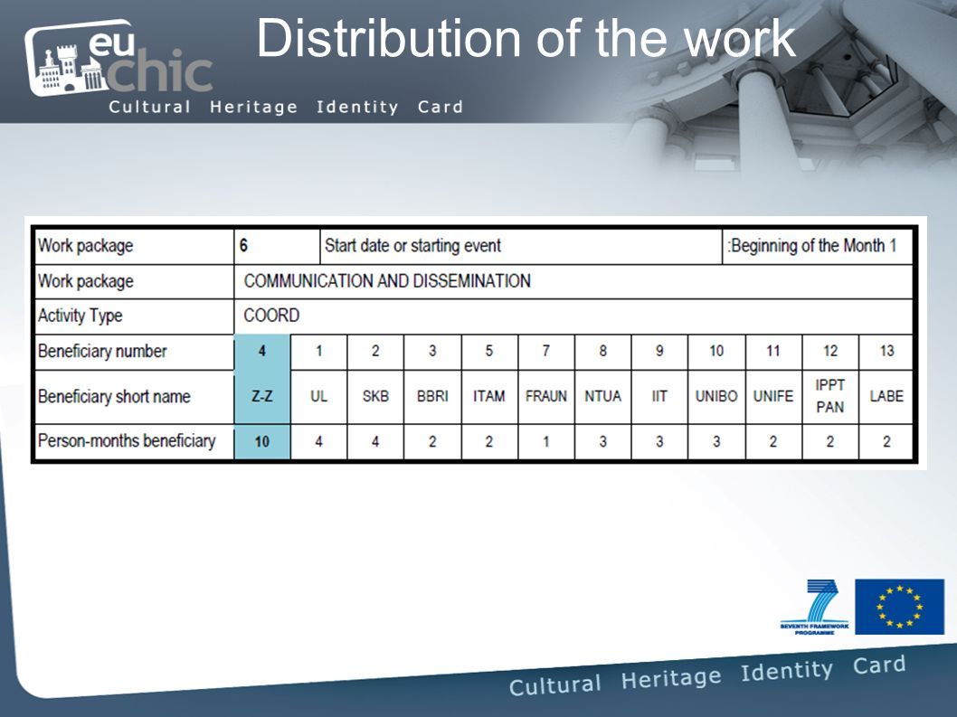 Distribution of the work