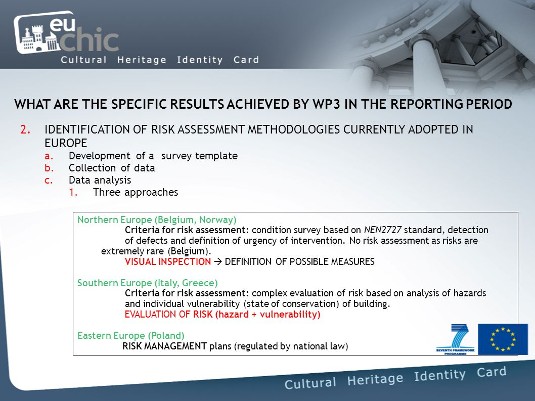 WHAT ARE THE SPECIFIC RESULTS ACHIEVED BY WP3 IN THE REPORTING PERIOD 2.IDENTIFICATION OF RISK ASSESSMENT METHODOLOGIES CURRENTLY ADOPTED IN EUROPE a.Development of a survey template b.Collection of data c.Data analysis 1.Three approaches Northern Europe (Belgium, Norway) Criteria for risk assessment: condition survey based on NEN2727 standard, detection of defects and definition of urgency of intervention.