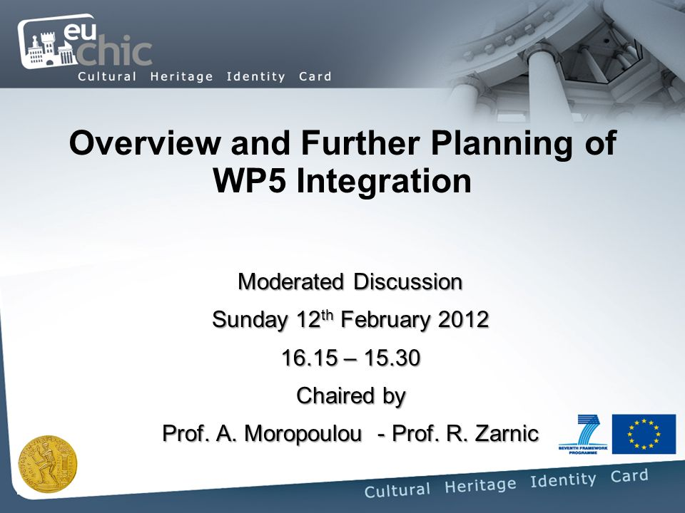 Overview and Further Planning of WP5 Integration Moderated Discussion Sunday 12 th February – Chaired by Prof.