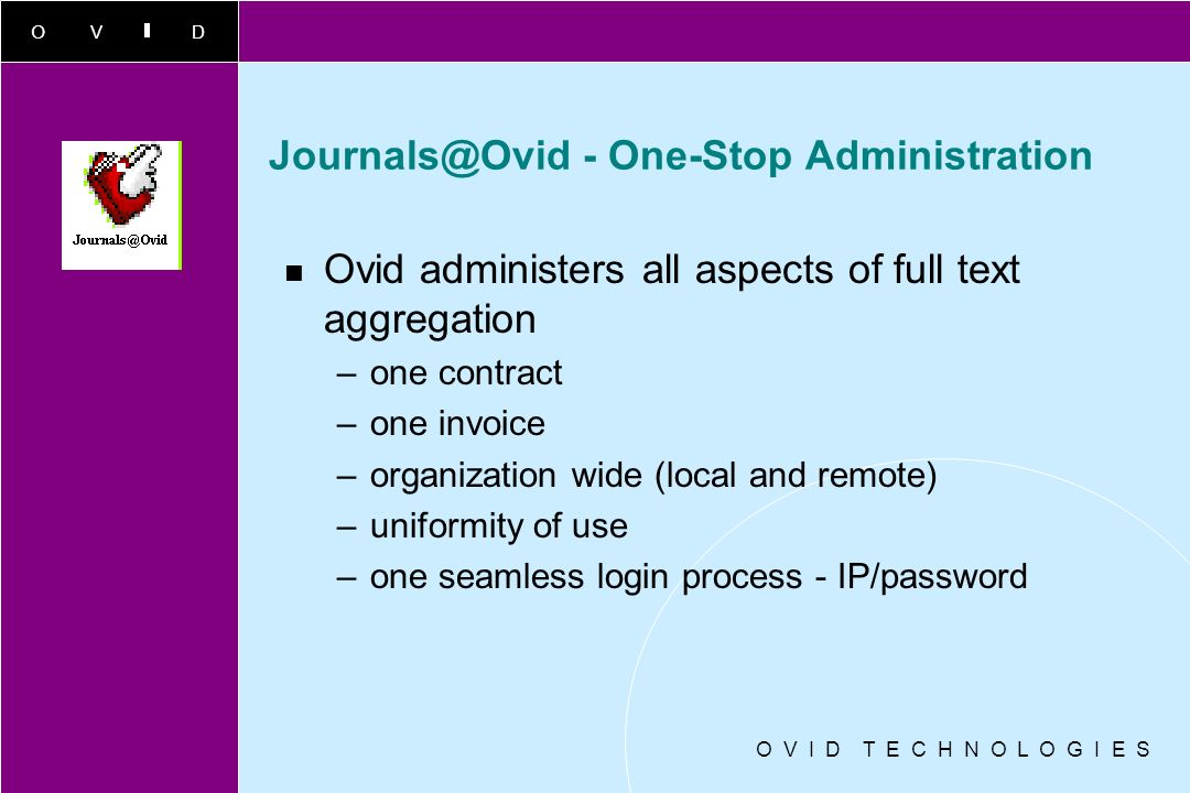 OVID O V I D T E C H N O L O G I E S Journals@Ovid Currency SGML key to Ovids aggregated, integrated and fully searchable philosophy. 70% of titles ar