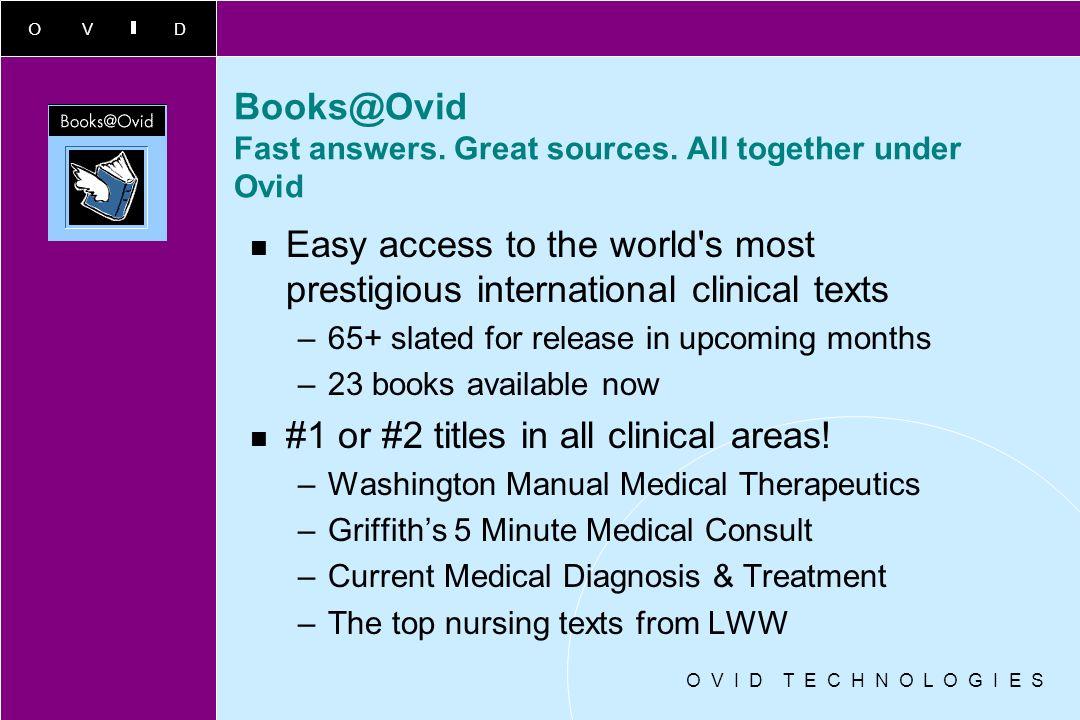 OVID O V I D T E C H N O L O G I E S New Databases Clinical Evidence (BMJ Publishing) PreMedline (complete PubMED content) –merged MEDLINE & PreMEDLIN