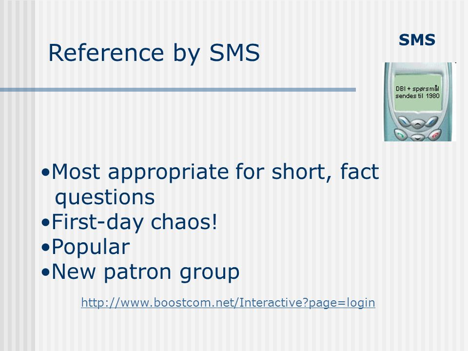 SMS Reference by SMS Most appropriate for short, fact questions First-day chaos! Popular New patron group http://www.boostcom.net/Interactive?page=log