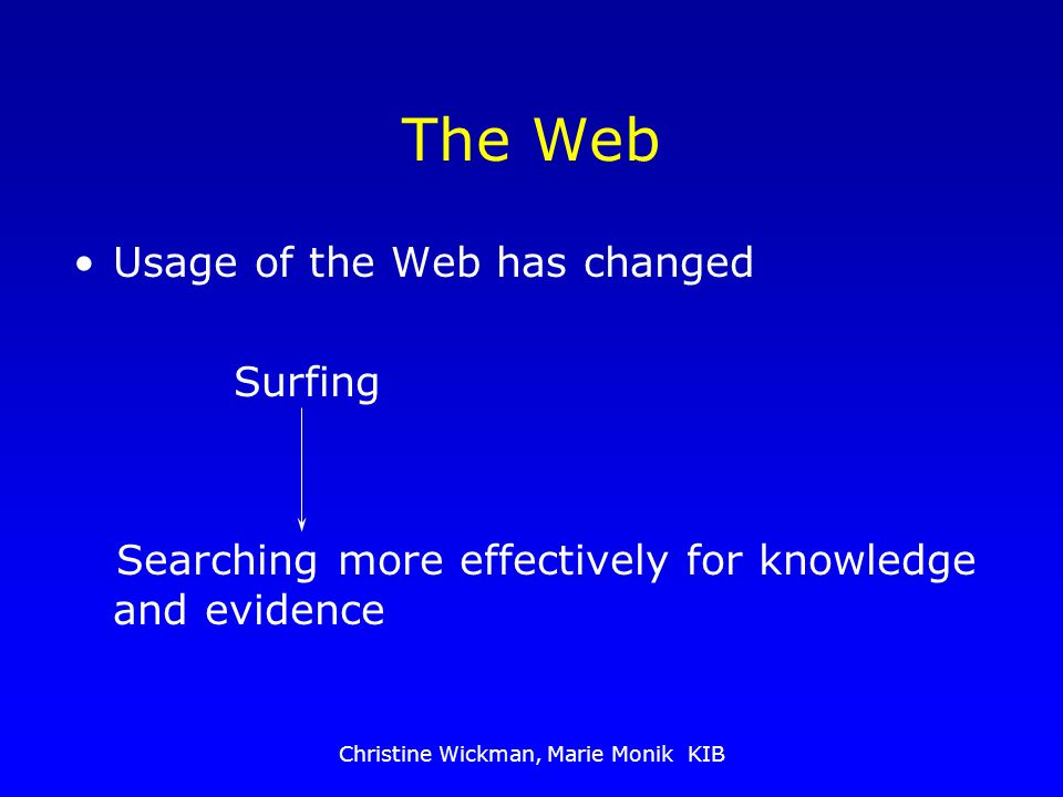 Christine Wickman, Marie Monik KIB The Web Usage of the Web has changed Surfing Searching more effectively for knowledge and evidence