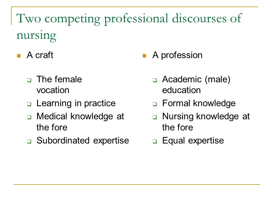 Two competing professional discourses of nursing A craft The female vocation Learning in practice Medical knowledge at the fore Subordinated expertise A profession Academic (male) education Formal knowledge Nursing knowledge at the fore Equal expertise