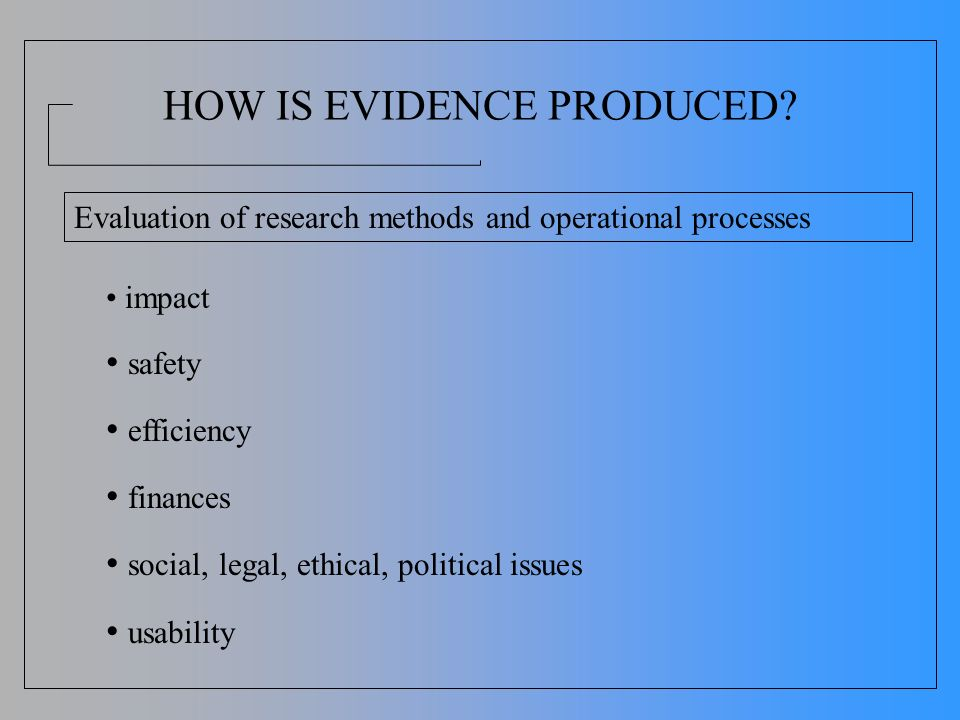 HOW IS EVIDENCE PRODUCED? impact safety efficiency finances social, legal, ethical, political issues usability Evaluation of research methods and oper