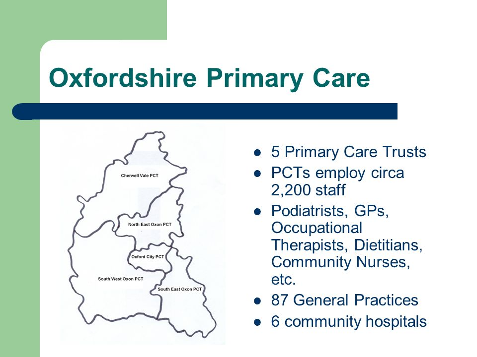 Library Services in Oxfordshire Local Health Care Libraries – University of Oxford Health Care Libraries – Horton Hospital, Banbury National Strategy Local Implementation Strategy