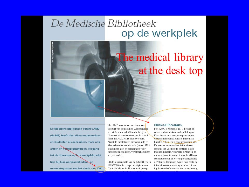 The medical library at the desk top
