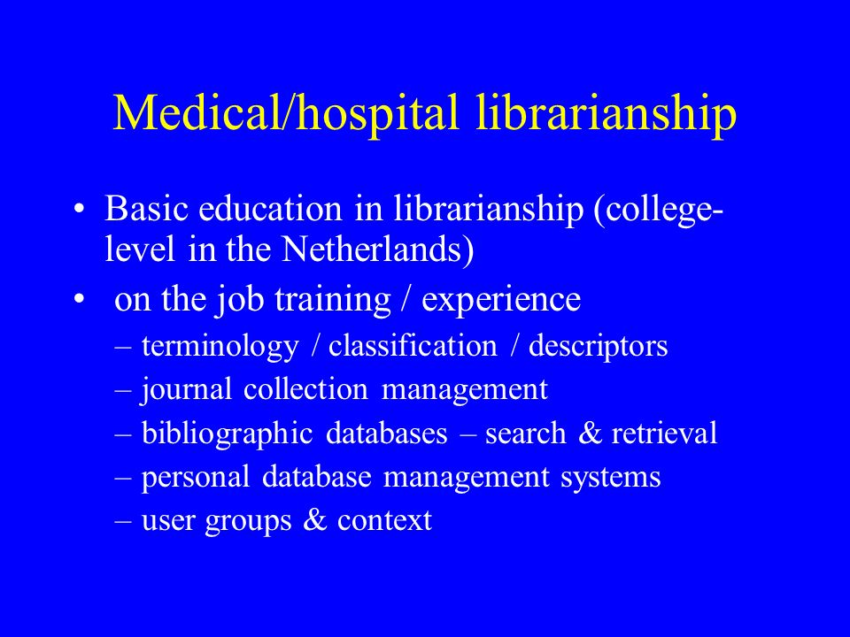 Continuing education courses 1992: program of short courses (1/2/3 days) –Medical terminology & classification (incl.