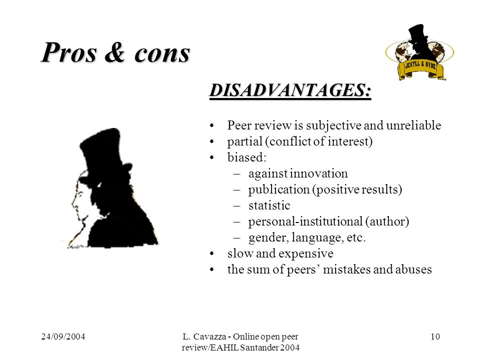 24/09/2004L. Cavazza - Online open peer review/EAHIL Santander 2004 10 Pros & cons DISADVANTAGES: Peer review is subjective and unreliable partial (co