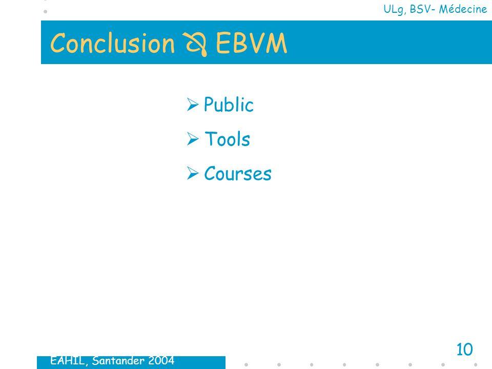 EAHIL, Santander 2004 10 ULg, BSV- Médecine Conclusion EBVM Public Tools Courses