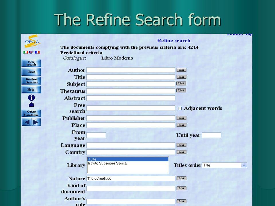 The Refine Search form