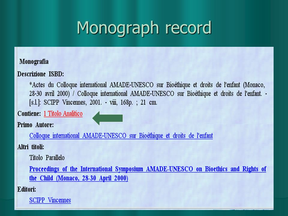 Monograph record