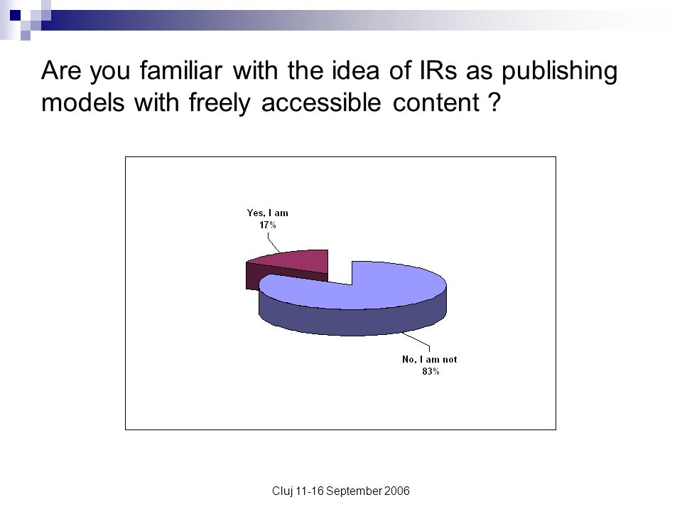 Cluj 11-16 September 2006 Are you familiar with the idea of IRs as publishing models with freely accessible content ?