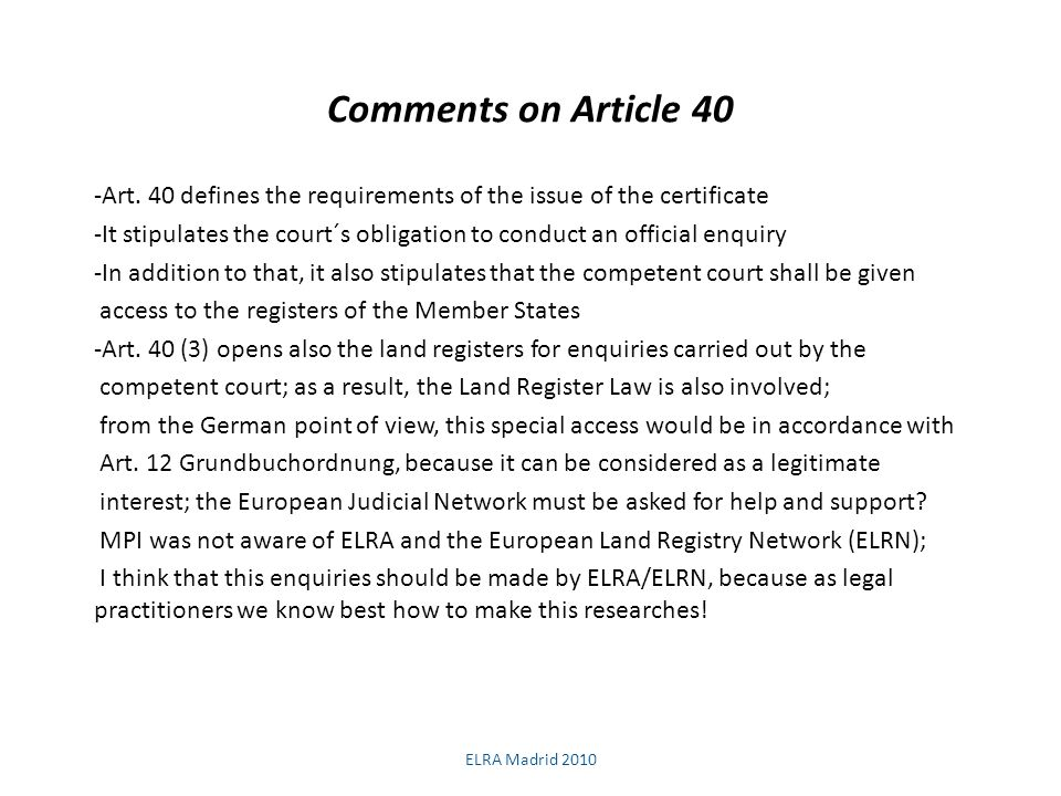 Comments on Article 40 -Art.