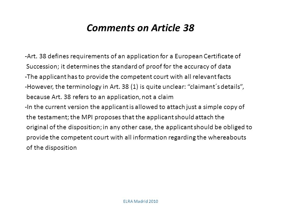 Comments on Article 38 -Art.