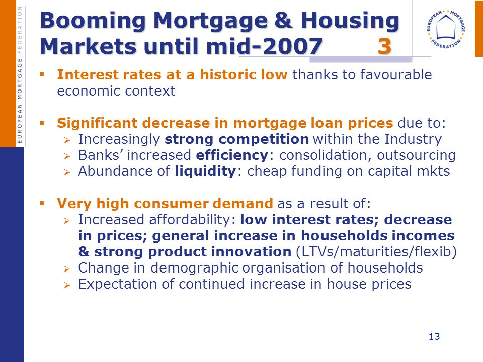 13 Booming Mortgage & Housing Markets until mid-20073 Interest rates at a historic low thanks to favourable economic context Significant decrease in m