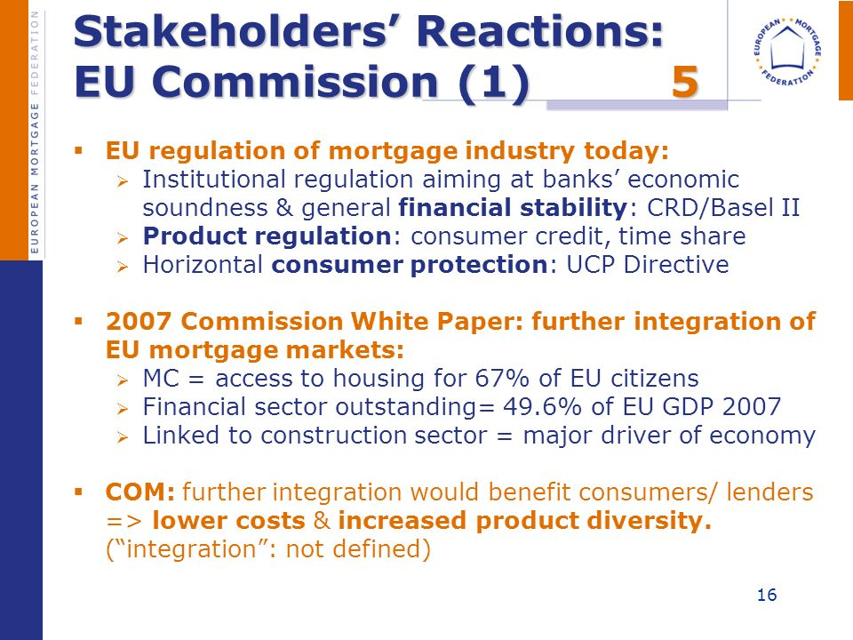 Stakeholders Reactions: EU Commission (1)5 EU regulation of mortgage industry today: Institutional regulation aiming at banks economic soundness & gen