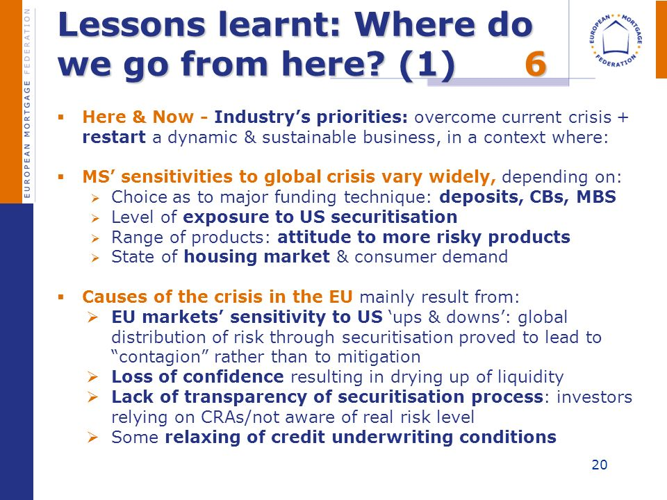 Lessons learnt: Where do we go from here? (1)6 Here & Now - Industrys priorities: overcome current crisis + restart a dynamic & sustainable business,