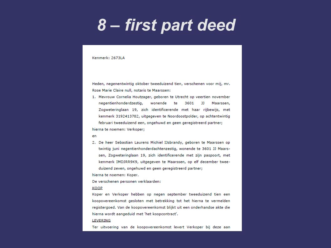 8 – first part deed