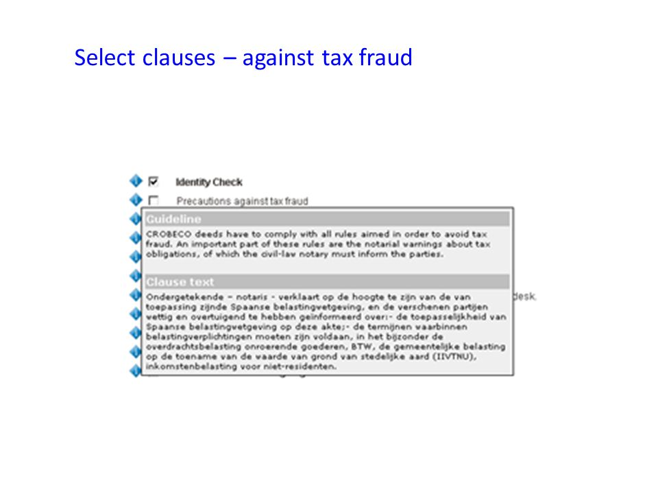 Select clauses – against tax fraud