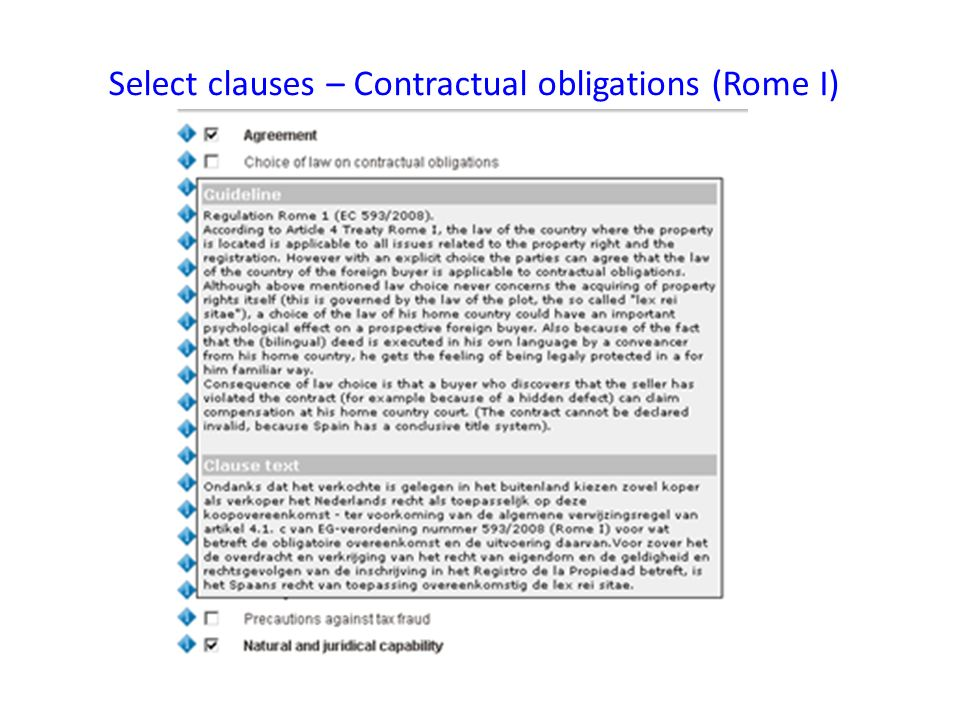 Select clauses – Contractual obligations (Rome I)